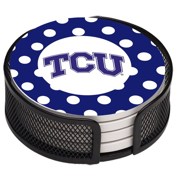 5 Piece Texas Christian University Dots Collegiate Coaster Gift Set by Thirstystone