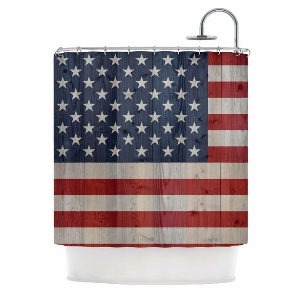 USA Flag On Spruce Shower Curtain by East Urban Home