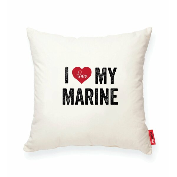 Pettitt I Heart Marine Cotton Throw Pillow by Wrought Studio