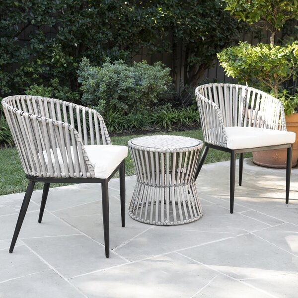 Melilani Outdoor 3 Piece Seating Group with Cushions by Bungalow Rose