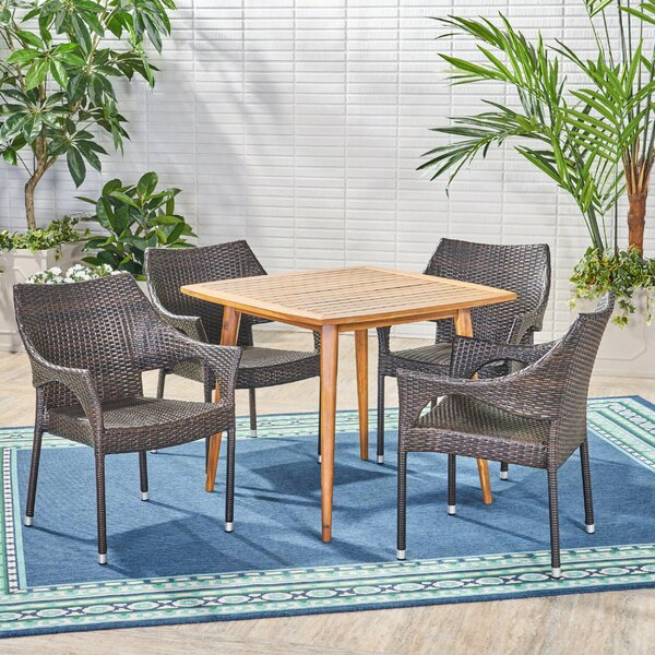 5 Piece Teak Dining Set by Wrought Studio