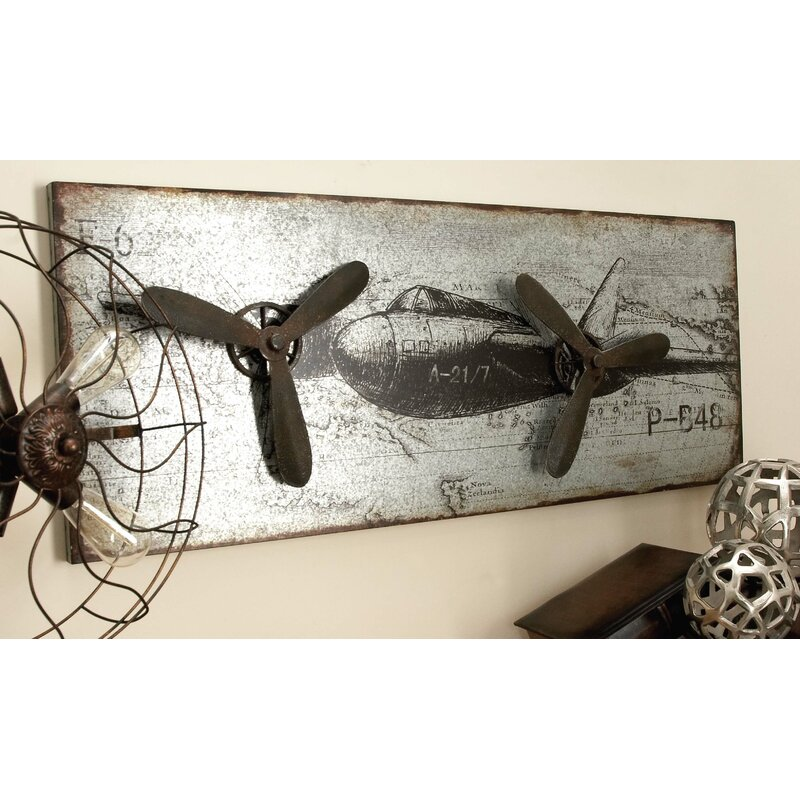 Metal Airplane Plaque Wall Décor