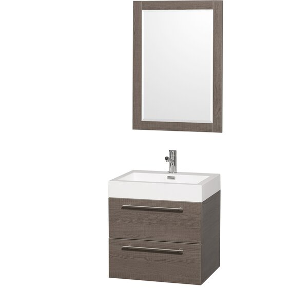 Amare 23 Single Gray Oak Bathroom Vanity Set with Mirror by Wyndham Collection