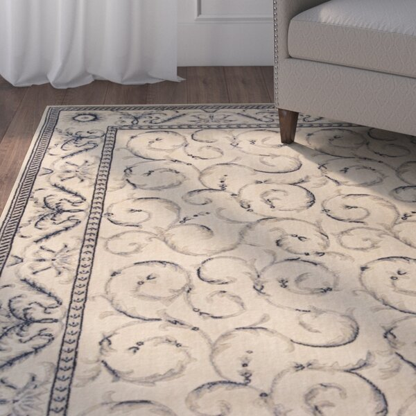 Dalrymple Ivory/Blue Area Rug by Alcott Hill