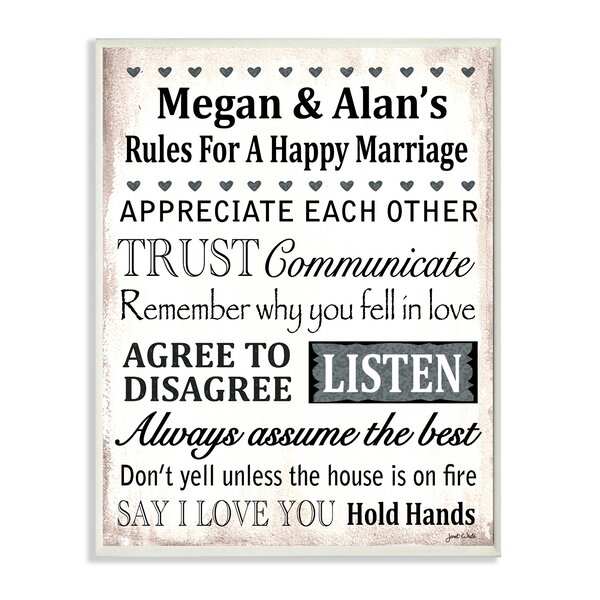 Personalized Happy Marriage Rules Appreciate Each Other by Janet White Textual Art Plaque by Stupell Industries