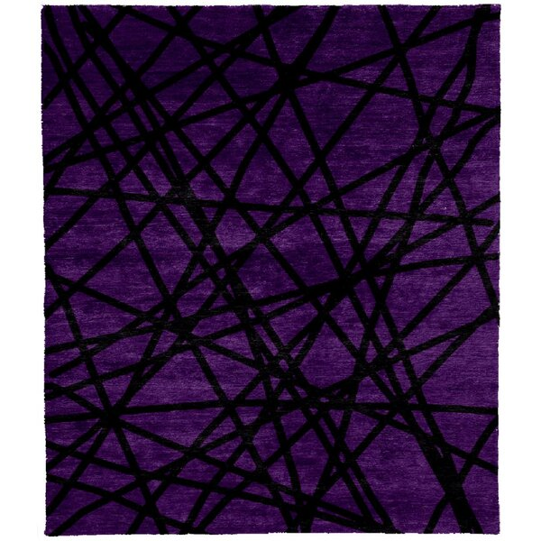 One-of-a-Kind Ashcroft Hand-Knotted Tibetan Purple/Black 8' Round Wool Area Rug