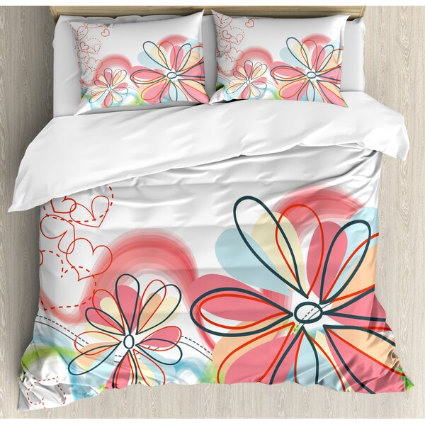 Colorful Home Cute Floral Haze Pattern with Heart Figures Love Spring Influences Art Work Duvet Set by Ambesonne