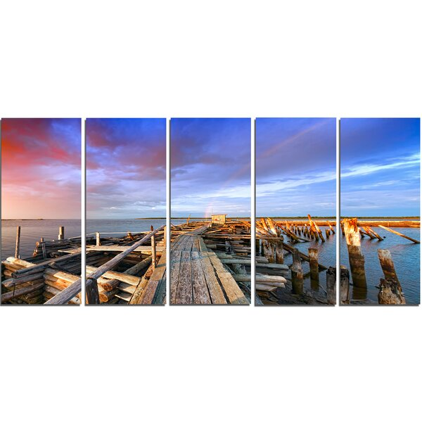 Abandoned Wooden Pier and Blue Sky Wall Art on Wrapped Canvas Set (Set of 5) by Design Art