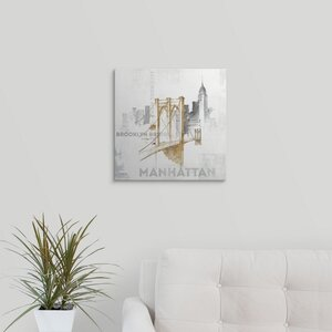 'Brooklyn Bridge' by Avery Tillmon Graphic Art on Wrapped Canvas by Great Big Canvas