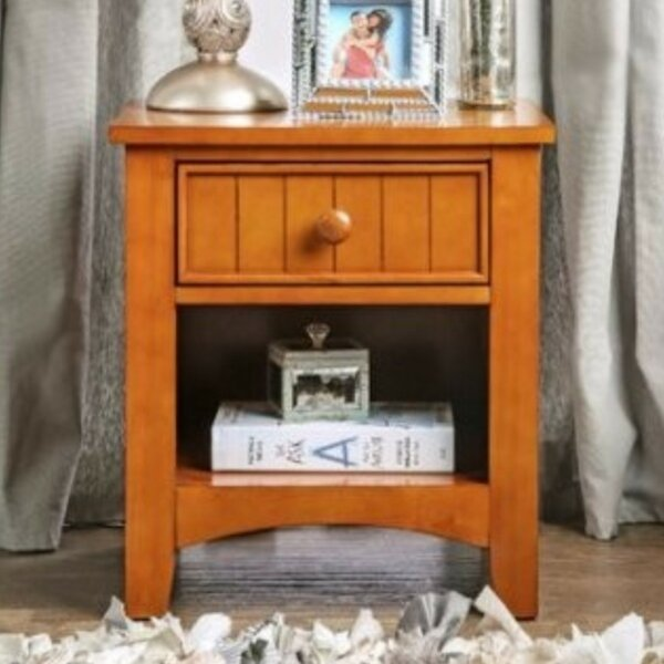 Reaves Wood 1 Drawer Nightstand by Charlton Home