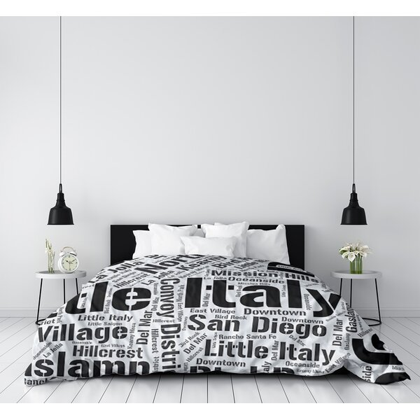 San Diego California Districts Single Reversible Duvet Cover
