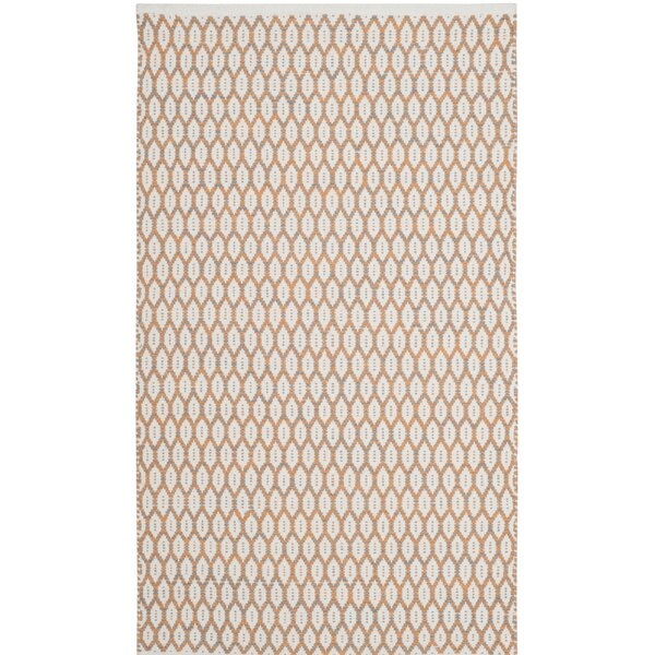 Modena Hand-Woven Orange/Ivory Area Rug by Gracie Oaks
