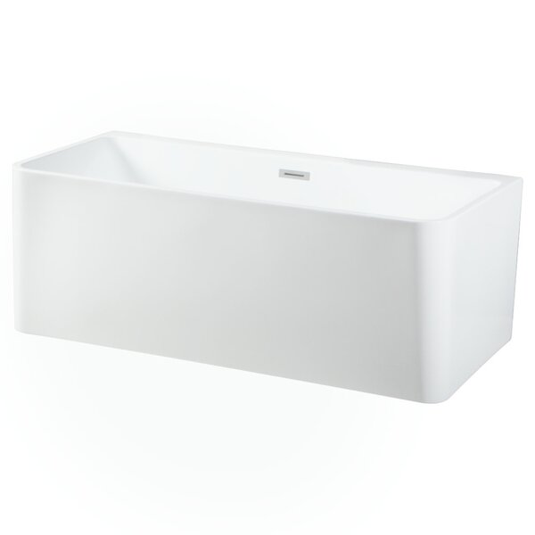 Aqua Eden Square Acrylic 67 x 30 Freestanding Soaking Bathtub by Kingston Brass
