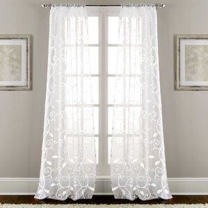 Lindsey Embroidered Nature/Floral Semi-Sheer Rod Pocket Curtain Panels (Set of 2 & Curtains u0026 Drapes Youu0027ll Love | Wayfair pezcame.com