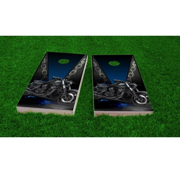 Motorcycle Light Weight Cornhole Game Set by Custom Cornhole Boards