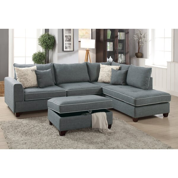 Best #1 Malta Reversible Sectional With Ottoman By Laurel Foundry Modern Farmhouse New