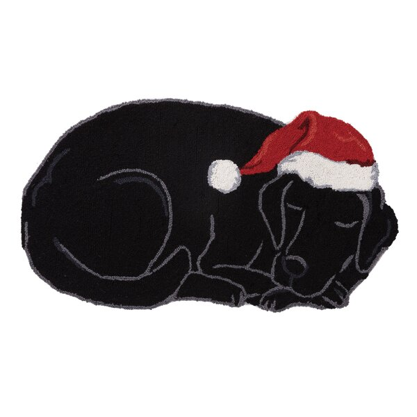 Mashburn Holiday Lab Shaped Hand-Hooked Wool Black/Red Area Rug by The Holiday Aisle