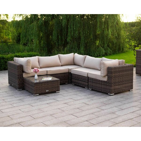 Shreya 6 Piece Rattan Sectional Seating Group with Cushions (Set of 6) by Bayou Breeze