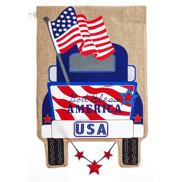 Patriotic Pick-Up Truck Burlap Garden Flag by Ever