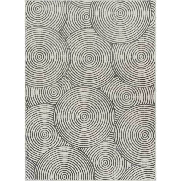 Giardina Geometric Circle Gray Area Rug by Orren Ellis