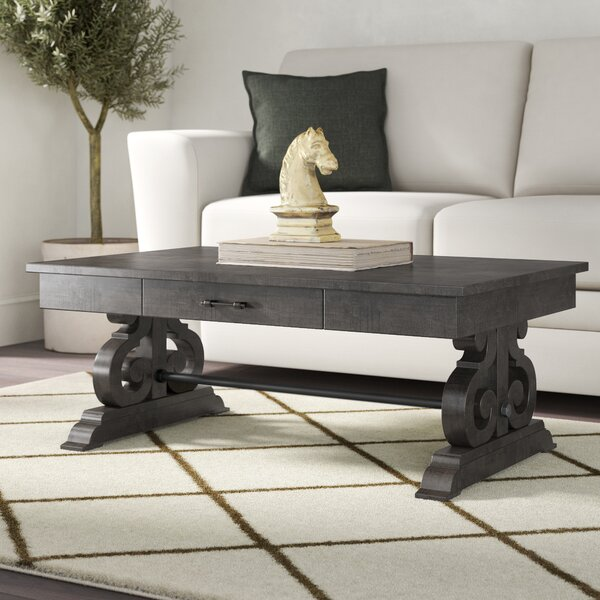 Kenworthy Solid Wood Trestle Coffee Table By Three Posts