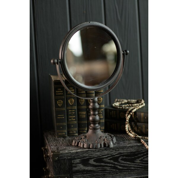 Loretta Round Cast Iron Pivoting Makeup/Shaving Mirror by Canora Grey