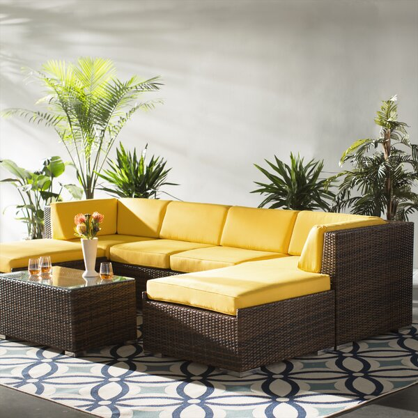 Baril 7 Piece Rattan Sunbrella Sectional Seating Group with Cushions by Wade Logan