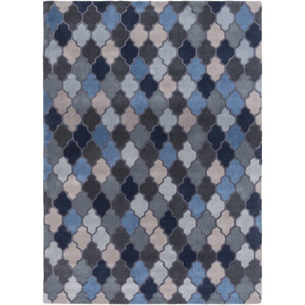Billmont Slate Geometric Blue Area Rug by Alcott Hill
