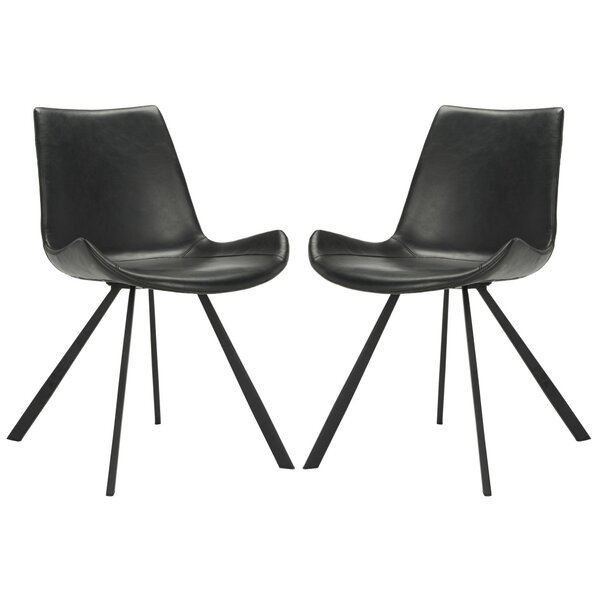 Brownlee Side Chair in Leather - Black (Set of 2) by Brayden Studio