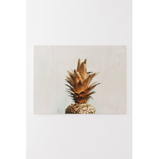 The Gold Pineapple Graphic Art Print On Wood