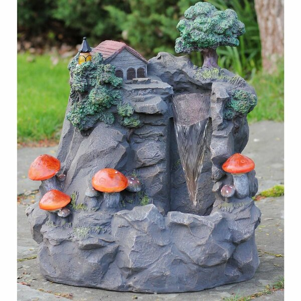Polystone Solar Mushrooms Outdoor Water Fountain with LED Light by Northlight Seasonal