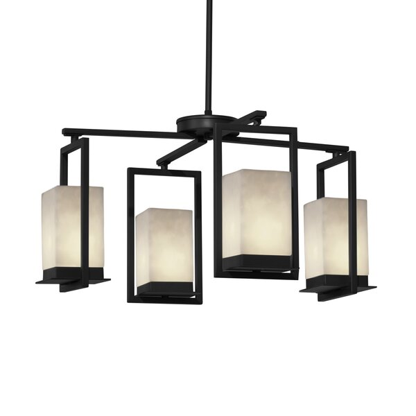 Hasty 4 - Light Shaded Square / Rectangle LED Chandelier By Winston Porter