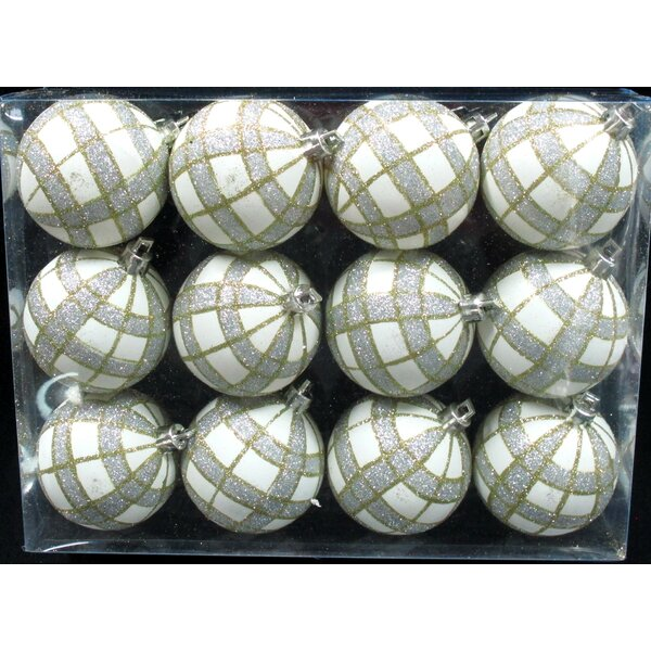 White Ball Ornament with Gold and Silver Plaid Design (Set of 2) by The Holiday Aisle