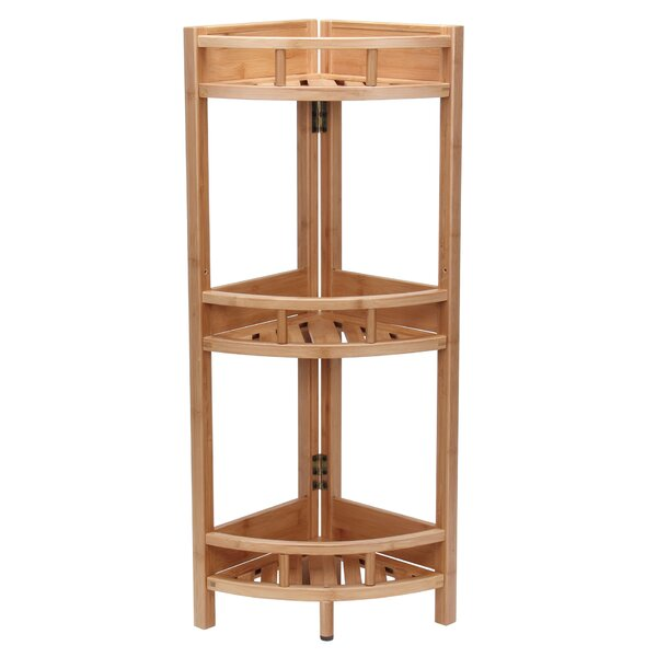 Bamboo Slatted Corner Bookcase by Household Essentials