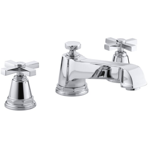 Pinstripe Pure Deck-Mount Bath Faucet Trim for High-Flow Valve with Cross Handles, Valve Not Included by Kohler