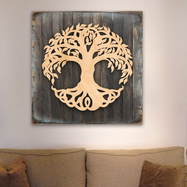 Tree of Life Wooden Block Celtic Spiritual Tree Wall Decor by World Menagerie