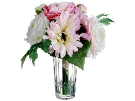 Gerbera Daisy & Ranunculus in Glass Vase by Silk Flower Depot