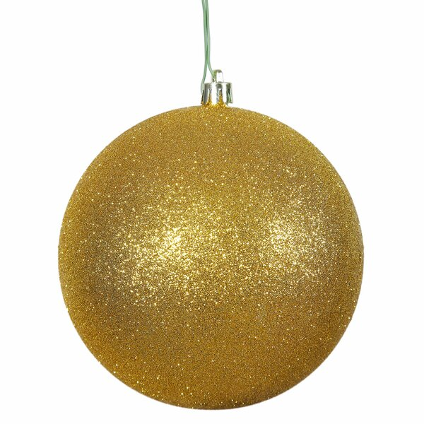 Gliter Christmas Ball Ornament with Cap (Set of 6)
