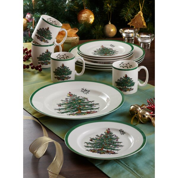 Christmas Tree 12 Piece Dinnerware Set, Service for 4 by Spode