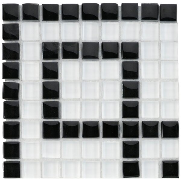 Sierra 0.63 x 0.63 Glass Mosaic Tile in White/Black by EliteTile