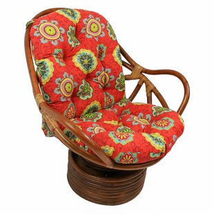 Tontouta Rattan Swivel Rocking Chair with Cushion World Menagerie