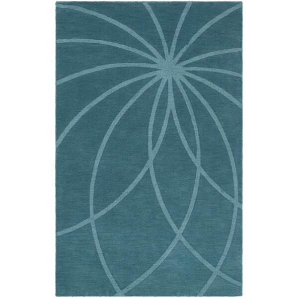 Dorthea Handwoven Wool Teal Area Rug by Ebern Designs