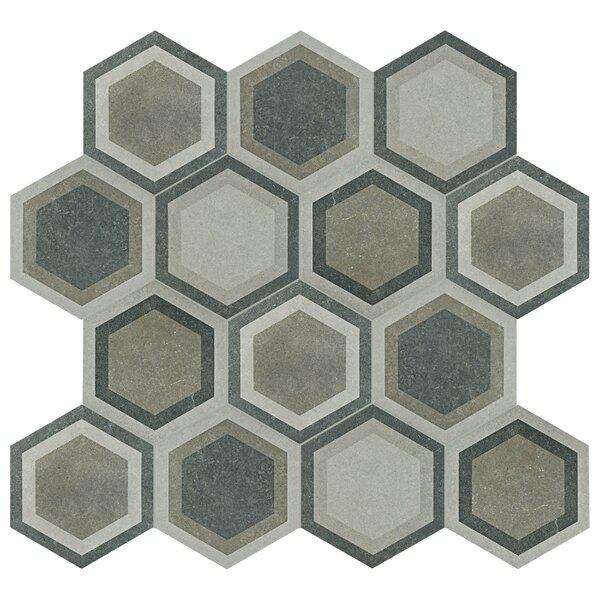 Transit Hex 8.63 x 9.75 Porcelain Field Tile in Combi Gray by EliteTile