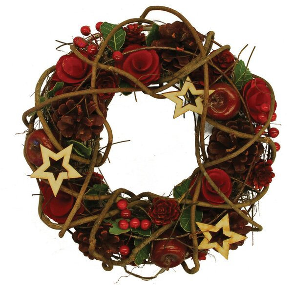 Artificial Floral and Berry with Stars Wreath by The Holiday Aisle
