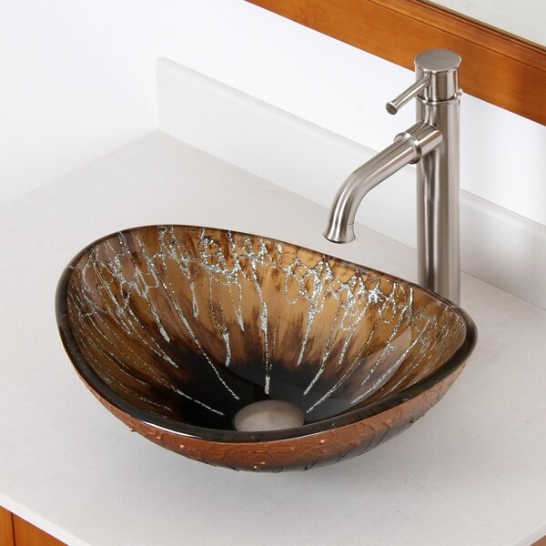 Hand Painted Boat Glass Oval Vessel Bathroom Sink