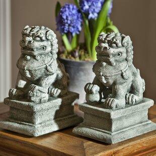 2 Piece Temple Foo Dog Statue Set