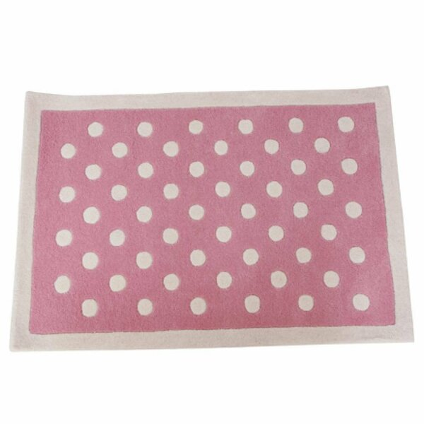 Polka Dot Hand-Tufted Pink/White Kids Rug by Baby Face