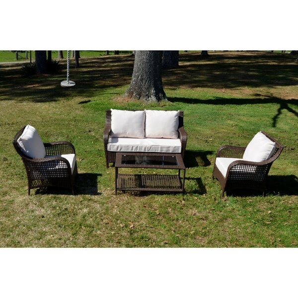 Polen 4 Piece Outdoor Sofa Seating Group with Cushions by Alcott Hill