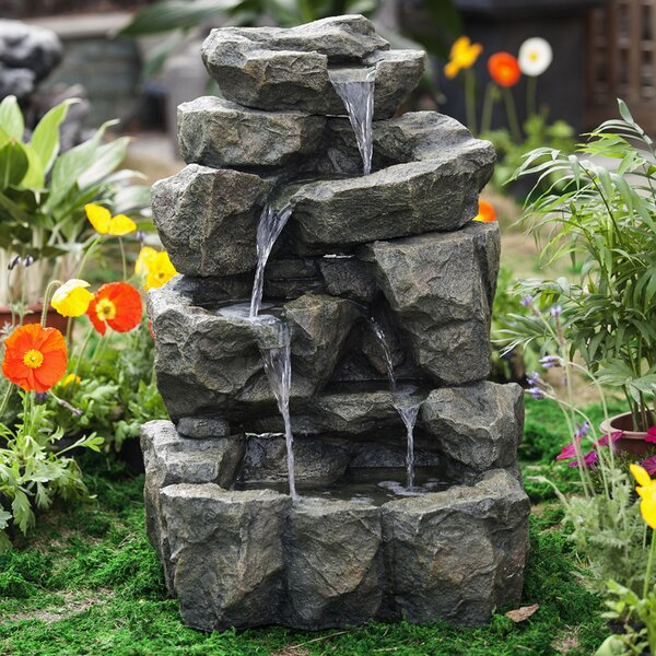 Resin/Fiberglass  Rock Waterfall Water Fountain by Jeco Inc.