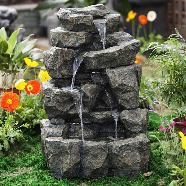 Resin/Fiberglass  Rock Waterfall Water Fountain by Jeco Inc.